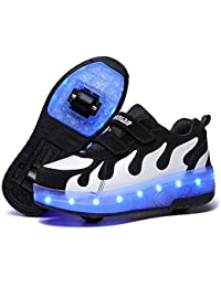 QJRRX LED Fashion Sneakers Kids Girls Boys Light Up Wheels Skate Shoes Comfortable Mesh Surface Roller Shoes Thanksgiving Christmas Day Best Gift