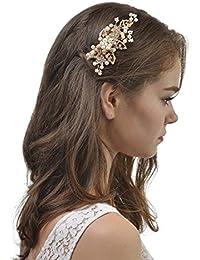 AWEI Mariée Magnifique Accessoire pour Cheveux, Strass Floraux Doré Peigne Cheveux Mariage, Fait à la Main Accessoire Cheveux Mariage