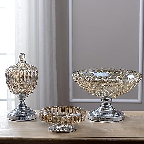 qwer Vetro piatto di frutta fumo cilindro contenitore di stoccaggio 3 kit campione processo di casa con moderne decorazioni minimaliste , argento 3-piece Set