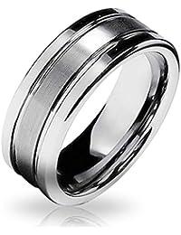 Bling Jewelry Ranurado de Mate Unisex Anillo de tungsteno de 8mm