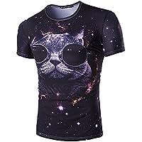 Slim Short-Sleeved T-Shirt_Abstract 3D diente grande imprimir dibujos animados Short-Sleeve camiseta Slim,XXL