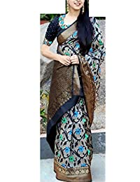 Rajeshwar Fashion Women's Raw Silk Saree With Blouse Piece (Km 1049 Sky Blue Green Flower ,8_Multi-Coloured)