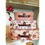 Juego 3 cajas de almacenamiento, diseño floral con forma de maletas estilo vintage