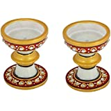 Gaura Art & Crafts Marble Two Pc. Decorative Diya Cum Candle Holder|T Light|Candle Stand|Home Decor Showpiece Gifts