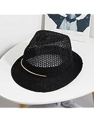 La mujer malla ocio round top corto solapamiento de la afectuosa sun diario jazz sombrero de paja, negro