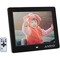 Andoer 8 inch High Resolution Digital Photo Picture Frame HD Wide Screen with Remote Control (8 inch Black)
