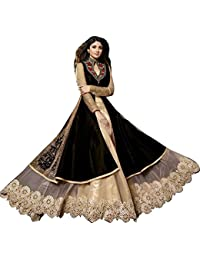 MJAK Women's Banglori Silk Semi-Stitched Anarkali Salwar Suit Set (Mjc007Ss_Black_Free Size)