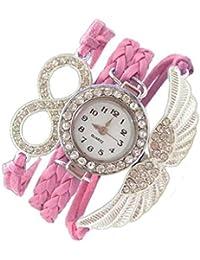 Addic Angel Wings Lucky Charm Pink Silver Metal Bracelet Watch For Women