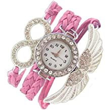 Addic Angel Wings Lucky Charm Pink Silver Metal Bracelet Watch For Women