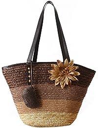 TOOGOO(R) Knitted Straw Bag Summer Flower Bohemian Fashion Women's Handbags Color Stripes Shoulder Bags Beach... - B01MEE2XJ8