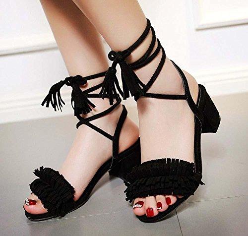 NobS Nappa Grandi Sandali Taglia M Scarpe Tacco Cinturino Alla Caviglia Women Suede Shoes Punta Aperta Black