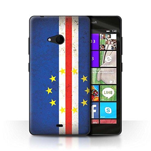 Stuff4 Hülle / Case für Microsoft Lumia 540 (Black/White) / Kap Verde Muster / Afrika Flagge Kollektion (White Kaps)