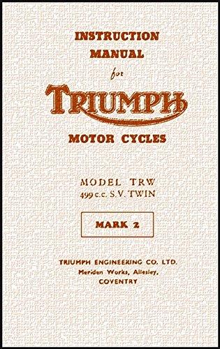 TRIUMPH INSTRUCTION MANUAL: MODEL TRW 499cc S.V. TWIN (English Edition) por TRIUMPH WORKS (1954)