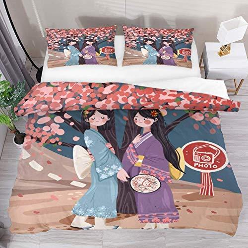 Soefipok Bettwäsche Bettbezug-Set Kimono Cherry Blossom Bedrucktes Tröster-Set mit 2 Kissenbezügen 3-teilig, 1 Bettbezug mit 2 Kissenbezügen -