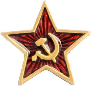 PRETYZOOM Spilla a forma di stella con martello e falce comunismo, simbolo smaltato, spilla da petto in metallo, vestiti, colletto, distintivo, regalo per uomini e donne, 4 pezzi
