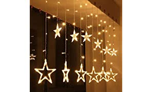 Desidiya 12 Stars 138 LED Curtain String Lights, Window Curtain Lights with 8 Flashing Modes Decoration for Christmas, Wedding, Party, Home, Patio Lawn, Warm White (138 LED - Star) - Warm White