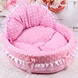 Qianle Hochwertig Teddy Pudel dreamy Prinzessin Hundebett Hundesessel Pink L
