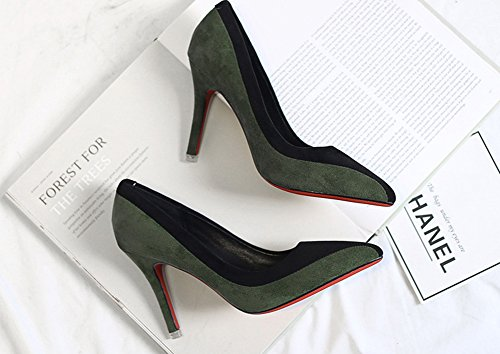 Aisun Damen Elegant Kontrastfarben Low Top Spitz Zehen Stiletto High Heels Pumps Grün