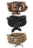 BE STEEL 3 Stück Armbänder Elastisch Herren Damen Buddha Mala Halskette Holz Armbänder Perlen Unisex 8mm Armbänder Set
