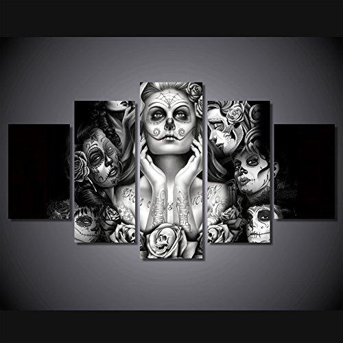 t Abstrakte Malerei Schwarz und Weiß ART PRINTS für Wohnzimmer Wand Kunstdruck Bild Geschenk Home Dekoration 5Stück Leinwand HD bedruckt, gerahmt fertig zum Aufhängen... (Tag Der Toten Dekor)