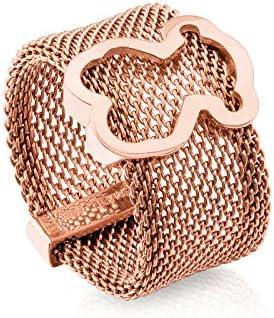 Anillo TOUS Mesh de acero IP rosado con motifo de plata vermeil rosa