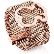 d99d12bcd170 Anillo TOUS Mesh de acero IP rosado con motifo de plata vermeil rosa