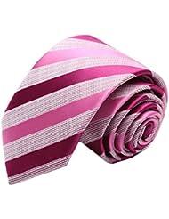 Simple et chic pour homme Business Liens Cravate formelle avec boîte cadeau, rose rouge à rayures