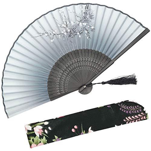 Omytea cold plum pieghevole tenuto in mano ventilatore per donne-cinese/giapponese/stile orientale/asiatica-con un tessuto manicotto per protezione, bambù, wdj-01-gray