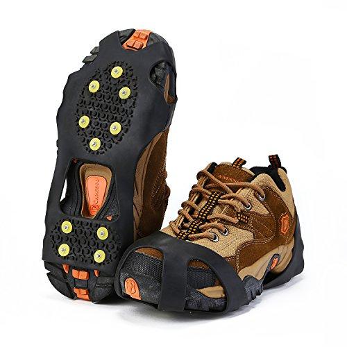 Tacchetti di trazione per scarpe Topnaca, per presa su ghiaccio e neve, punte in gomma antiscivolo, ramponi a chiodi per trekking, backpacking, caccia, escursionismo, X - Large