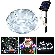 MK Manguera led solar de color blanco 12M 100leds, led Guirnaldas luminosas solares de exterior, tira de luz solar, led Luces decorativas para Navidad y fiestas, luz solar para jardín, patio y árboles