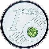 THE COIN - AUGUST Geburtsstein/Monatsstein - PERIDOT Farbe - DAS AUßERGEWÖHNLICHE GESCHENK - versilbert mit 925er Sterling Silber - mit Swarovski Kristall