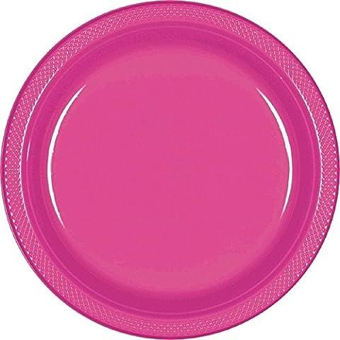 Amscan International - Platos de plástico (20 unidades, 22,8 cm), color rosa
