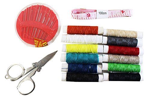 Travel Sewing Kit With Folding Scissors, Sewing Needles, Thread Selection & Tape Measure