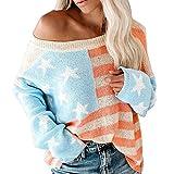 RYTEJFES Strickpullover Damen Rundhals Pullover Gestrickte Kontrastfarbe Hoodies Lose Lässig Pullover Bunt Aufdruck Vintage Pulli