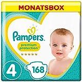 Pampers Premium Protection Windeln, Gr. 4, 9-14 kg, Monatsbox, 1er Pack (1 x 168 Stück)