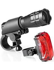 Fahrradlampen Set - Superhelle LED-Lampen fürs Fahrrad - Einfach zu montierende Vorder- und Rücklampe mit Schnellverschluss-System - Beste Front- und Rückbeleuchtung – Passend für alle Räder (BLACK, 200 Lumen)