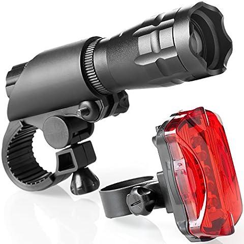 Set luci bicicletta, con luci a LED per bicicletta, montaggio facile, con fari anteriori e posteriori con sistema di sgancio rapido, per luci anteriori e posteriori, per tutte le biciclette, 200 Lumen