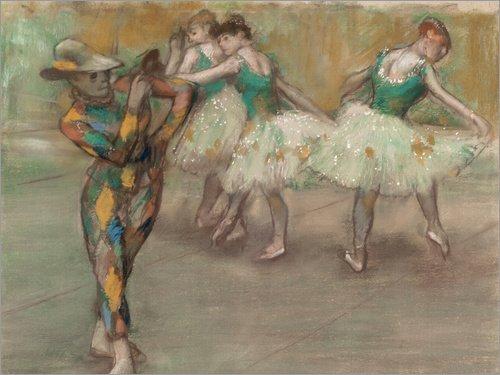 Posterlounge Leinwandbild 160 x 120 cm: Harlequin von Edgar Degas - fertiges Wandbild, Bild auf Keilrahmen, Fertigbild auf echter Leinwand, Leinwanddruck (Clown Ballett Kostüm)