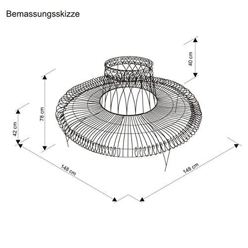 Gartenbank aus Metall komplette Baumbank rund Antik-Braun 148 x 74 x 78 cm - 3