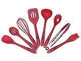 GA Homefavor Set di 8 Utensili da Cucina in Silicone, Vari Utensili Molto Utili per Cucinare di Colore Rosso