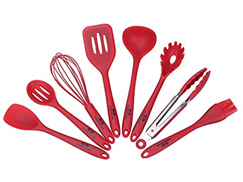 GA Homefavor 8 Pieces Red Silicone Kitchen Utensils Cooking Tools Set, Spatula Turner, Slotted Spoon, Soap Ladle, Pasta Server, Spoon Spatula, Basting Brush, Whisk and Serving Tong