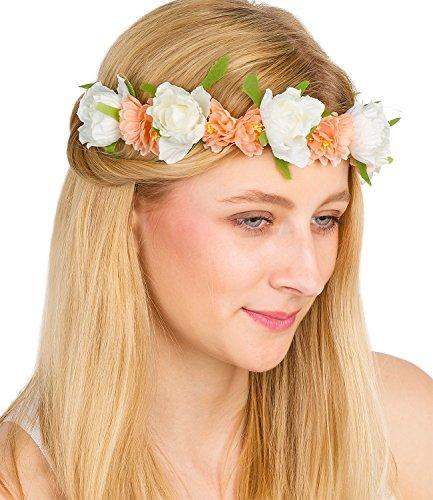 SIX Schöner Blumenhaarkranz: Haarschmuck mit zarten Textil-Blumen in apricot und weiss, mit Satinband zum einfachen Binden im Nacken, Tracht (456-271)