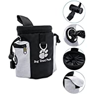 Henweit Dog Treat Pouch Bag Sachet Pet Training Bag Puppy Walking Pouch with Poop Waste Bag Dispenser Pocket Mouth Adjustable With Waist Clip for pet stuff