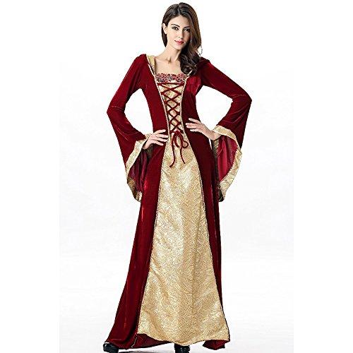 Mittelalterliches Burgfräulein Kostüm Rot/Gold in Deluxe-Ausführung Gr. XS/S Kleid - 2