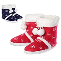 Ladies Knitted Snowflake Bootie Slippers Faux Fur Pompoms Hard Non-Slip Sole