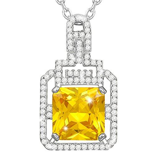 MARENJA-Regalo San Valentín Collar Mujer de Moda-Colgante Amarillo de Corte Coj¨ªn con Cadena-Joya Chapada en Oro Blanco con Cristal