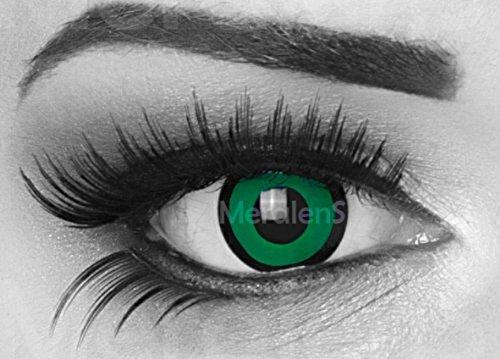 (MeralenS 1 Paar farbige Crazy Fun schwarz grün Jahres Kontaktlinsen. perfekt zu Halloween, Karneval, Fasching oder Fasnacht mit gratis Kontaktlinsenbehälter ohne Stärke!)