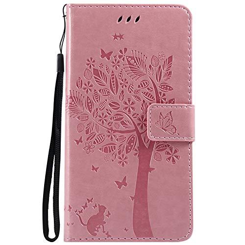 Lomogo [LG X Power 2] Hülle Leder, Schutzhülle Brieftasche mit Kartenfach Klappbar Magnetverschluss Stoßfest Kratzfest Handyhülle Case für LG X Power2 (LGM320N) - LOKTU23838 Rosa
