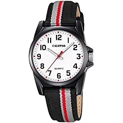 Calypso UK5707/8 Children's Analogue Quartz Wristwatch with Elegant Leather / Textile Strap in Black and Grey, Dial in White / Black