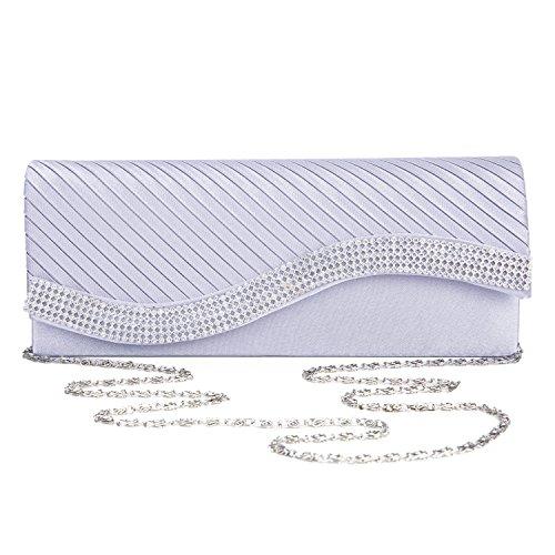 Kisschic Satin Clutch Silber Elegant Strassstein Damen Abendtasche Handtaschen Umh?ngetaschen (Abendtasche Satin Handtasche)